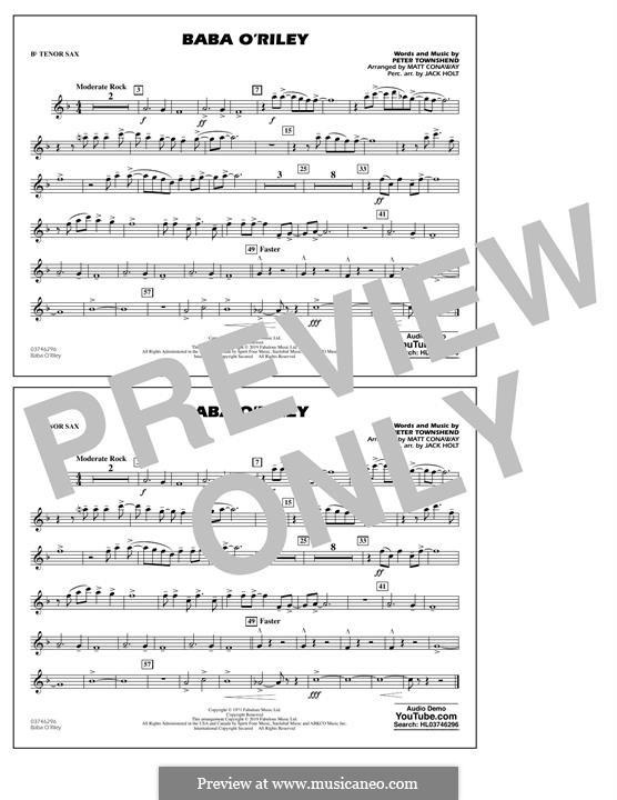 Baba O'Reilly (from Summer of Sam): Bb Tenor Sax part by Peter Townshend