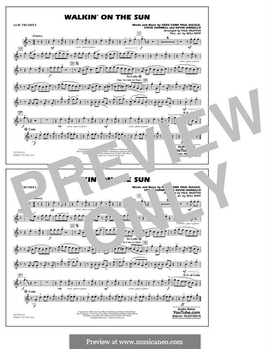 Walkin' on the Sun (Smash Mouth): 1st Bb Trumpet part by Steven Harwell, Gregory Camp, Kevin Iannello, Paul DeLlale