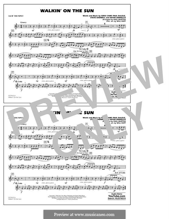 Walkin' on the Sun (Smash Mouth): 3rd Bb Trumpet part by Steven Harwell, Gregory Camp, Kevin Iannello, Paul DeLlale