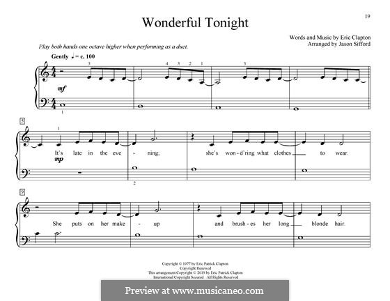 Wonderful Tonight: For piano by Eric Clapton
