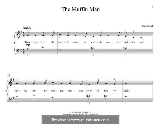 The Muffin Man: For piano by folklore
