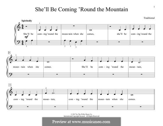 She'll Be Comin' 'Round the Mountain: For piano by folklore