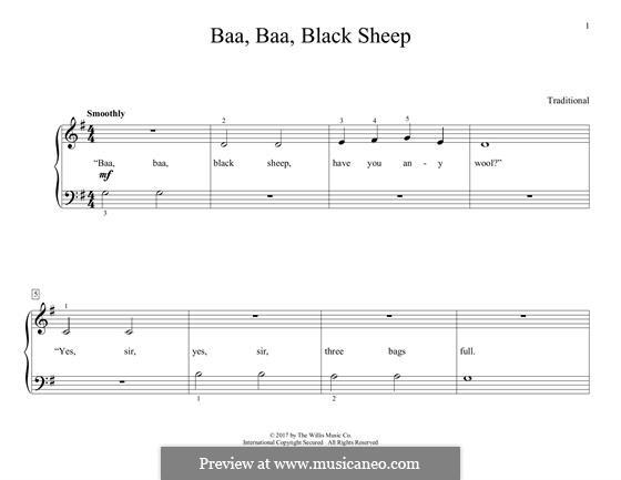 Baa Baa Black Sheep: For piano by folklore