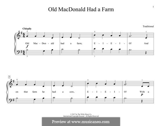 Old MacDonald Had a Farm: For piano by folklore