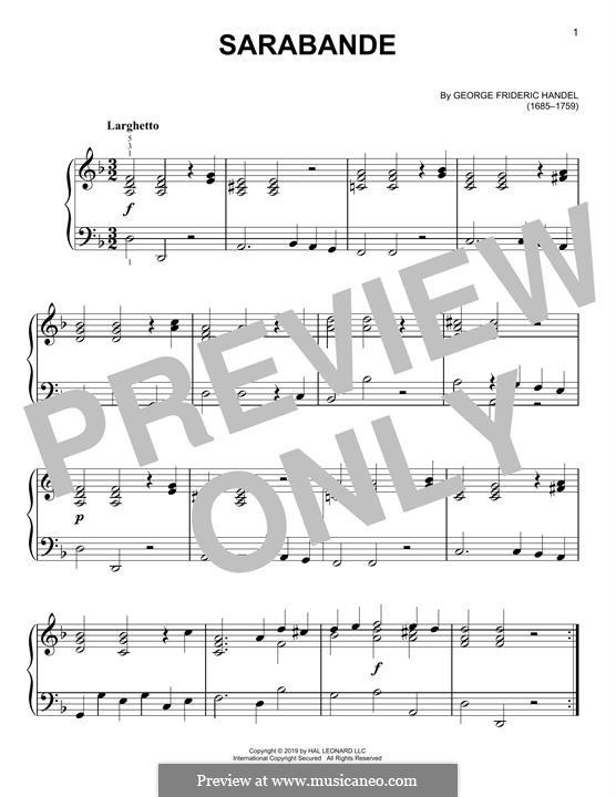 Sarabande in D Minor: For piano by Georg Friedrich Händel