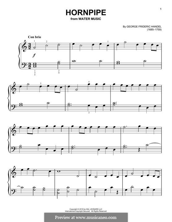 Suite No.2 in D Major, HWV 349: Alla Hornpipe, for piano by Georg Friedrich Händel