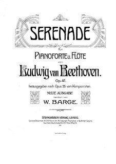 Serenade in D Major for Flute, Violin and Viola, Op.25: Version for flute and piano by Ludwig van Beethoven
