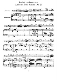 Sonata for Piano No.12 in A Flat Major, Op.26: Movement I. Version for cello and piano by Ludwig van Beethoven