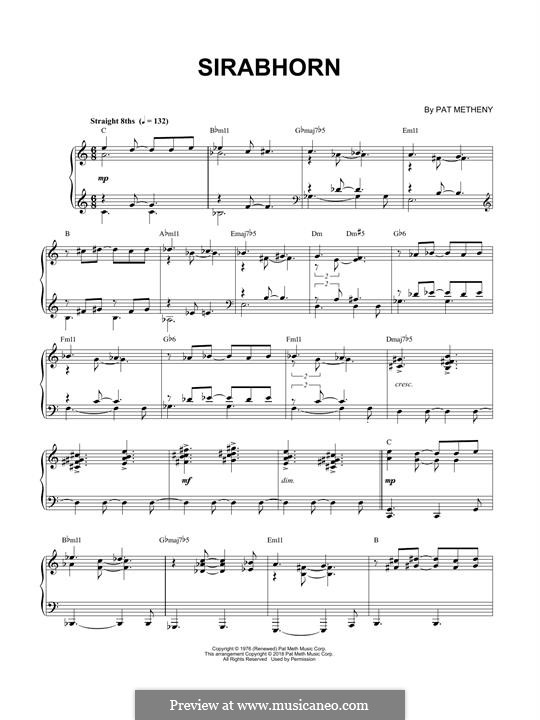 Sirabhorn: For piano by Pat Metheny