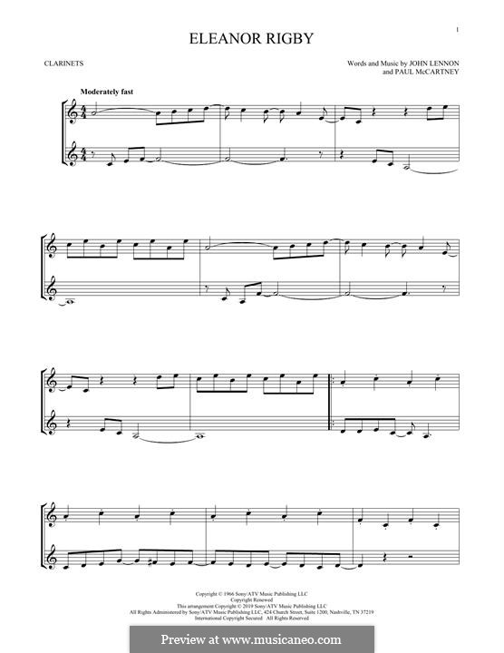 Eleanor Rigby (The Beatles): For two clarinets by John Lennon, Paul McCartney