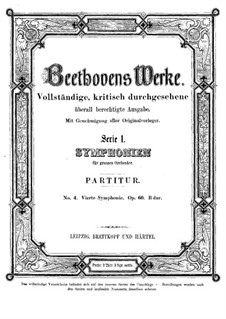 Symphony No.4, Op.60: Full score by Ludwig van Beethoven