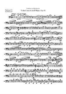 Concerto for Violin and Orchestra in D Major, Op.61: Bassoons I, II parts by Ludwig van Beethoven