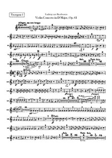 Concerto for Violin and Orchestra in D Major, Op.61: Trumpets I, II parts by Ludwig van Beethoven