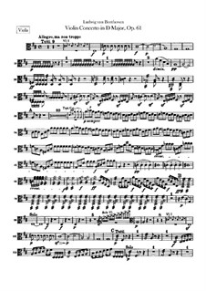 Concerto for Violin and Orchestra in D Major, Op.61: Viola part by Ludwig van Beethoven