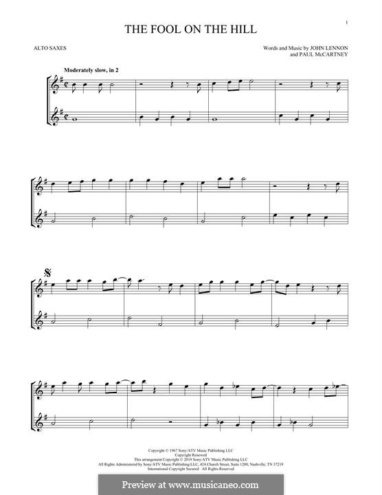 The Fool on the Hill (The Beatles): For two alto saxophones by John Lennon, Paul McCartney