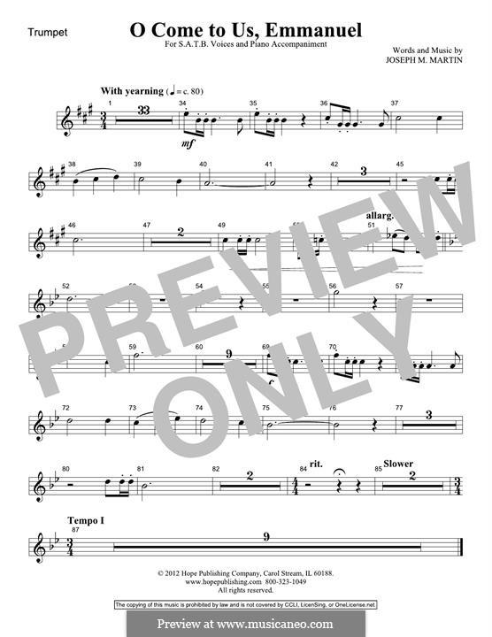 O Come To Us, Emmanuel: Trumpet part by Joseph M. Martin
