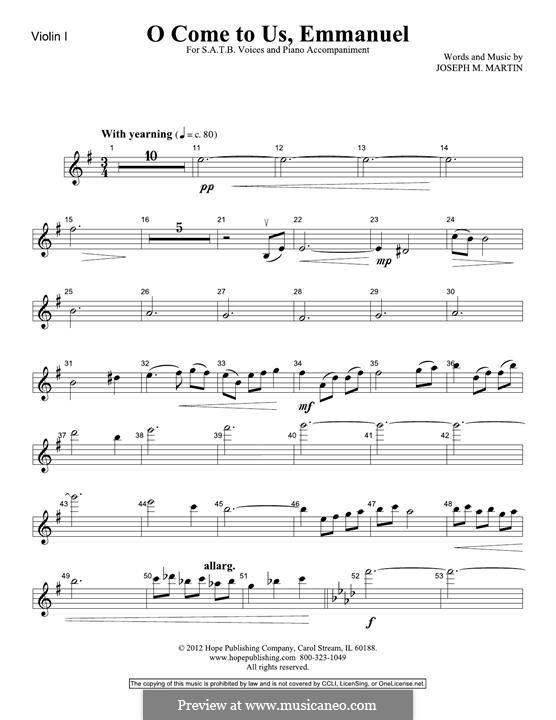 O Come To Us, Emmanuel: Violin 1 part by Joseph M. Martin