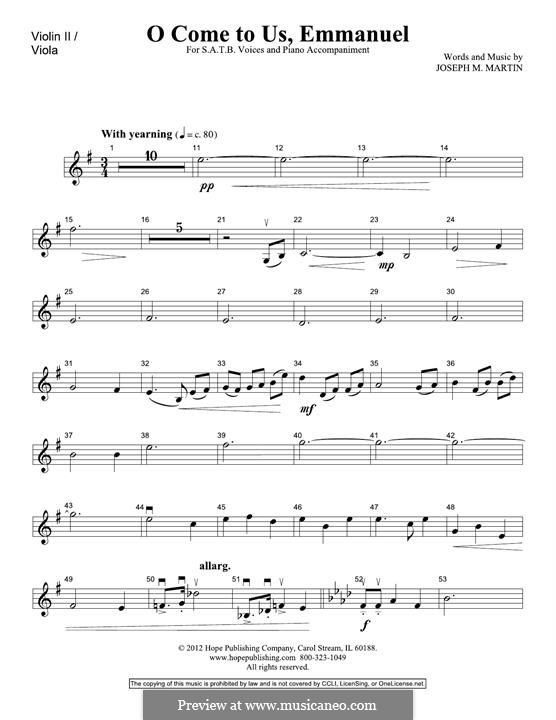 O Come To Us, Emmanuel: Violin 2 part by Joseph M. Martin