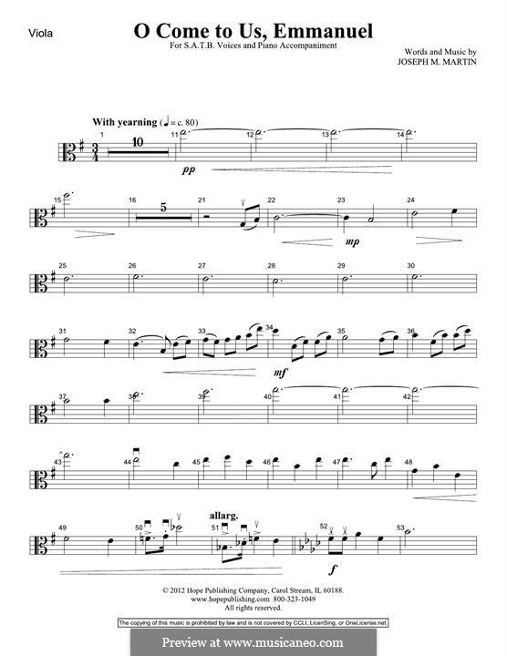 O Come To Us, Emmanuel: Viola part by Joseph M. Martin