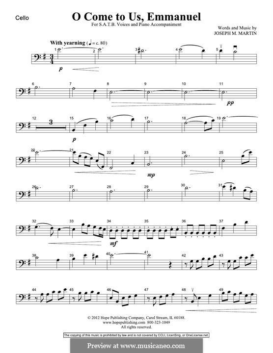 O Come To Us, Emmanuel: Cello part by Joseph M. Martin