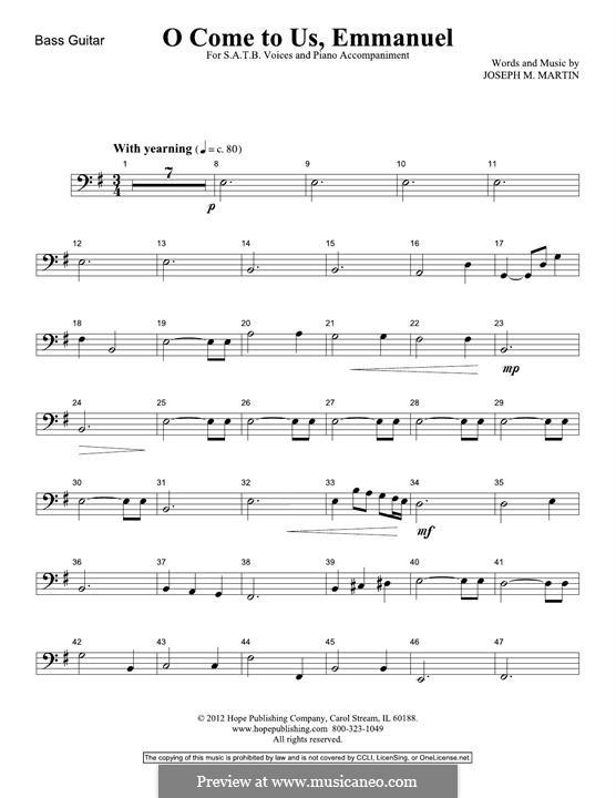 O Come To Us, Emmanuel: Bass Guitar part by Joseph M. Martin