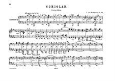 Ouvertüre Coriolan (Coriolanus Overture), Op.62: Version for two pianos eight hands – piano II part by Ludwig van Beethoven