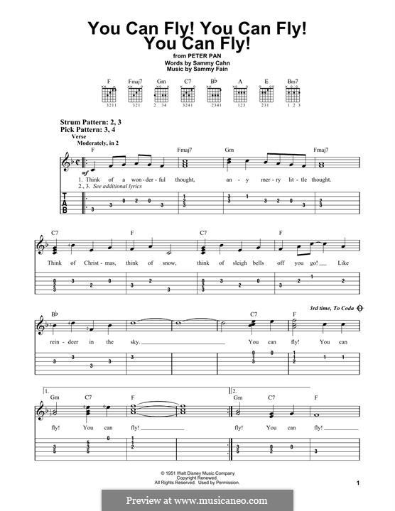 You Can Fly! You Can Fly! You Can Fly!: For guitar by Sammy Fain