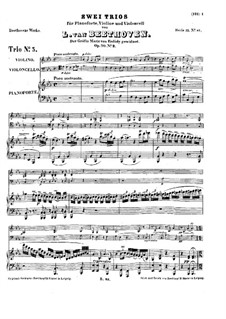 Trio for Violin, Cello and Piano No.6, Op.70 No.2: Full score by Ludwig van Beethoven