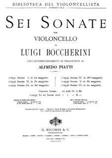 Sonata for Cello and Basso Continuo No.1, G.13: Version for cello and piano  by Luigi Boccherini