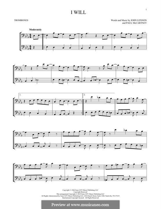 I Will (The Beatles): For two trombones by John Lennon, Paul McCartney