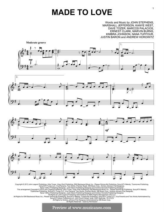 Made to Love: For piano by Dave Tozer, Ernest Clark, John Stephens, Kanye West, Marcos Palacios, Marvin Burns, Andrew Horowitz, Justin Baron, Kimbra Johnson, Nana Tuffour