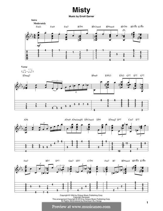Misty (Johnny Mathis): For guitar by Erroll Garner