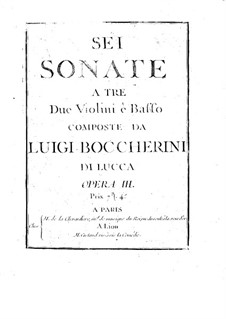Six String Trios, Op.3: Basso continuo parts, G.119-124 by Luigi Boccherini