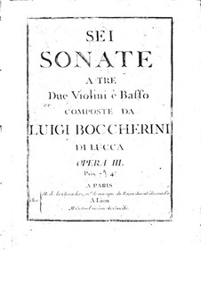 Six String Trios, Op.3: Violin II part (or cello), G.119-124 by Luigi Boccherini