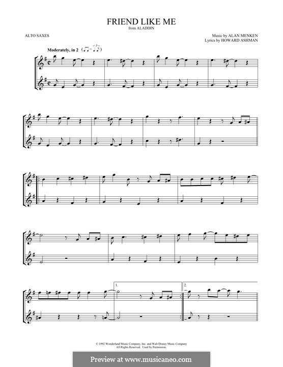 Friend Like Me (from Aladdin): For two alto saxophones by Alan Menken