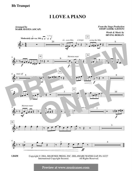 I Love a Piano: Trumpet part by Irving Berlin