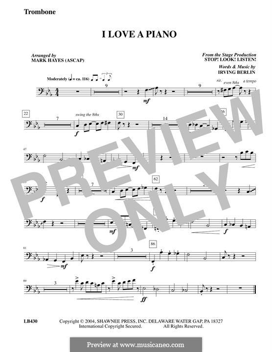 I Love a Piano: Trombone part by Irving Berlin