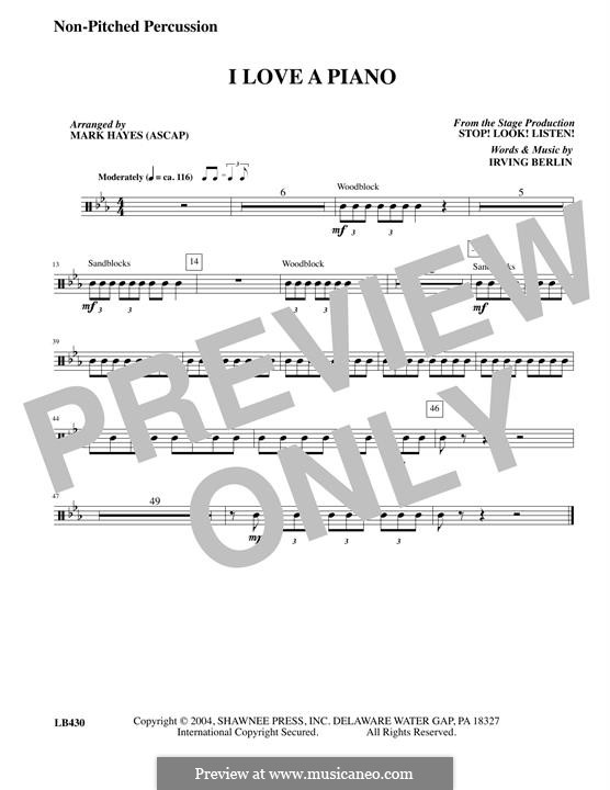 I Love a Piano: Un-pitched Percussion part by Irving Berlin