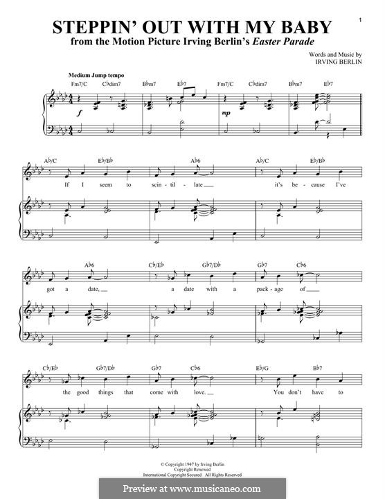 Steppin' Out with My Baby: For voice and piano by Irving Berlin