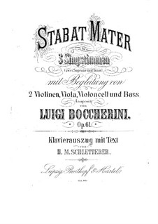 Stabat Mater, G.532 Op.61: For voices and piano by Luigi Boccherini