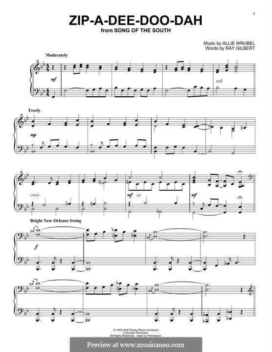 Zip-A-Dee-Doo-Dah: For piano by Allie Wrubel