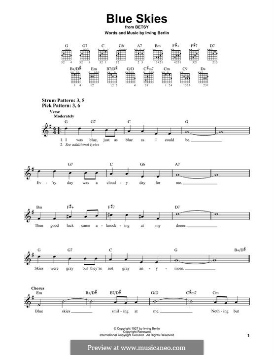 Blue Skies: For guitar by Irving Berlin