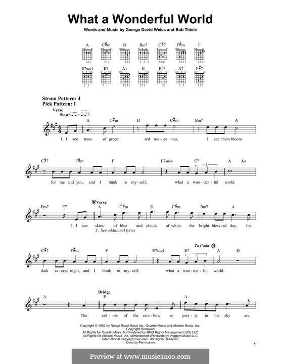 What a Wonderful World: For guitar by Bob Thiele, George David Weiss