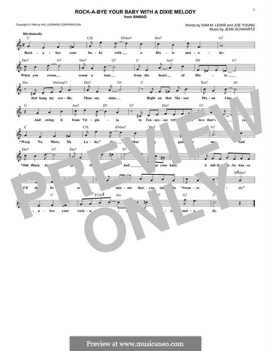 Rock-a-Bye Your Baby with a Dixie Melody (Al Jolson): For keyboard by Jean Schwartz