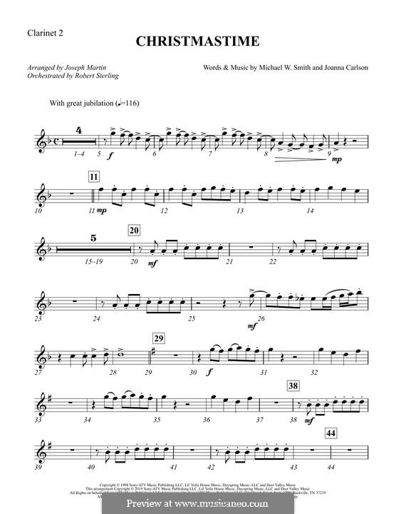 Christmastime: Bb Clarinet 2 part by Joanna Carlson, Michael W. Smith