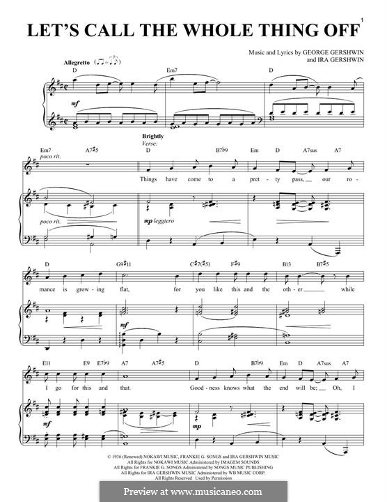 Let's Call the Whole Thing Off: For voice and piano by George Gershwin