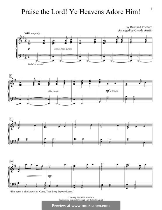 Praise the Lord Ye Heavens: For piano by Rowland Huw Prichard