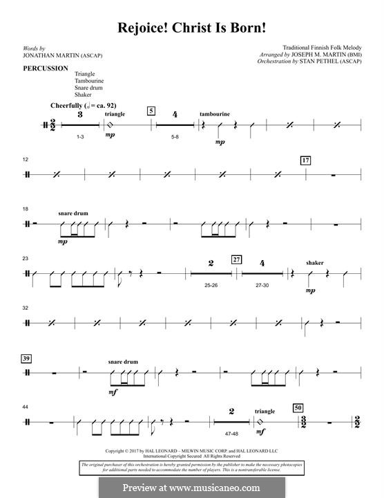 Rejoice! Christ Is Born! (arr. Joseph M. Martin): Percussion part by folklore