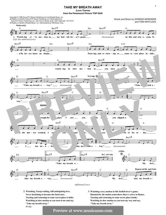 Take My Breath Away (Love Theme): For keyboard by Irving Berlin