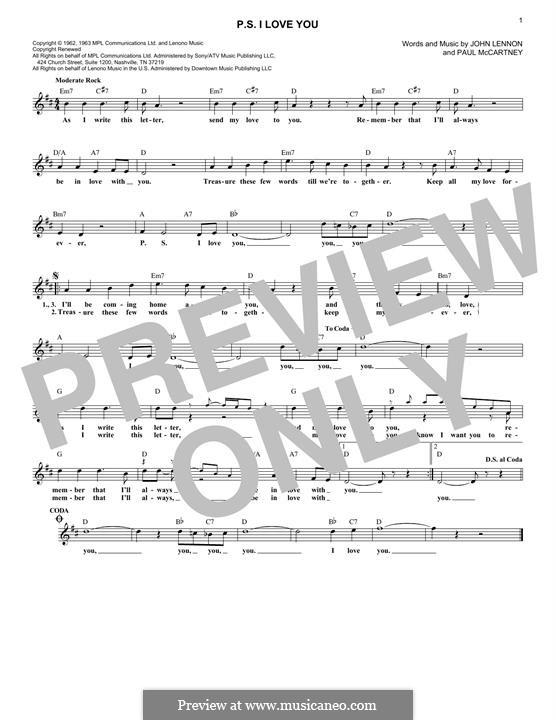P.S. I Love You (The Beatles): For keyboard by John Lennon, Paul McCartney